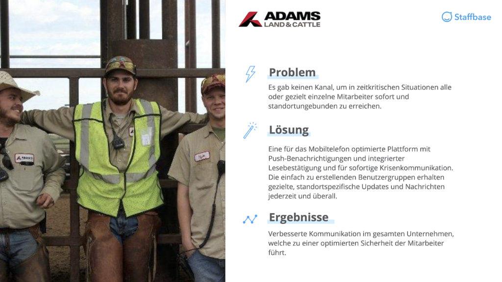 Adams Land & Cattle Zusammenfassung Mitarbeiterapp Staffbase
