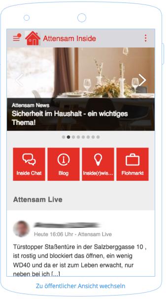 Attensam Mitarbeiter-App auf dem Smartphone