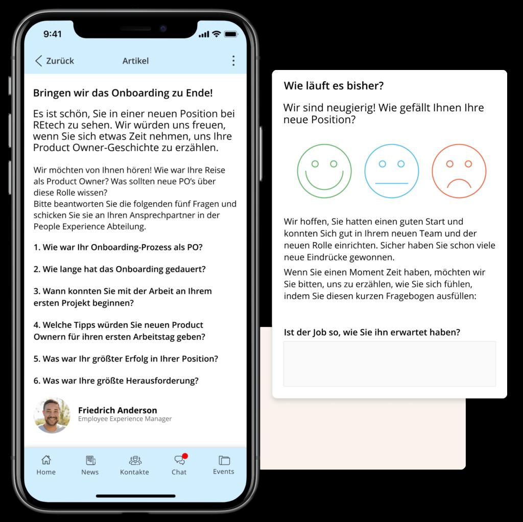 Staffbase Journeys auf Mobile mit einer Pulsumfrage