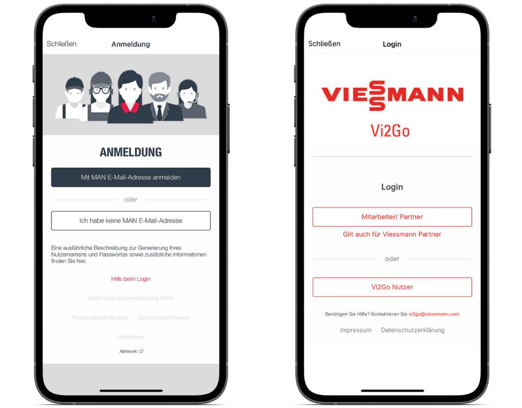 Beispiele Login verschiedene Nutzer mobiles Intranet