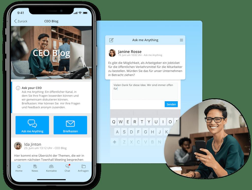 Beispiel eines CEO Blog als Teil einer Mitarbeiter-App