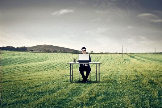 Man Desk Outside