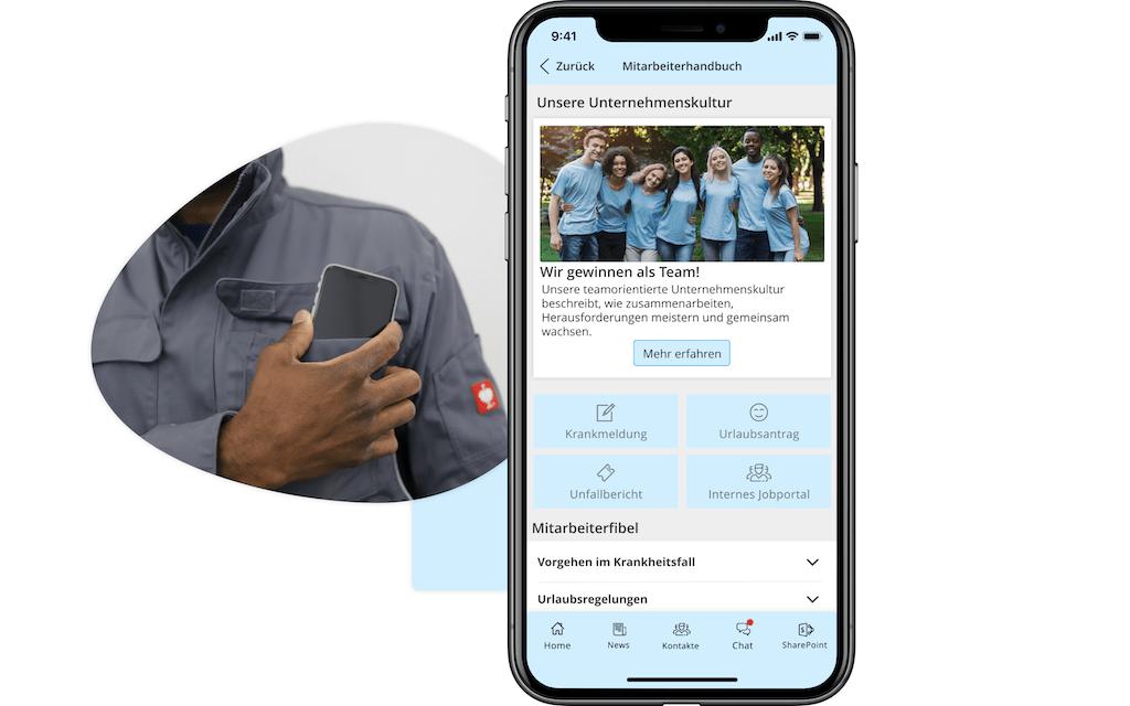 Mitarbeiter-Handbuch innerhalb einer Mitarbeiter-App