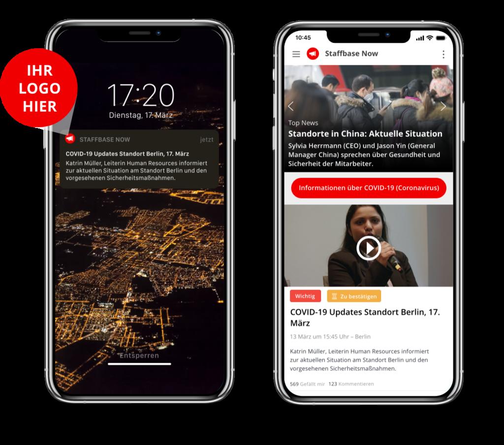 Push-Funktion und Newsfeed der Staffbase NOW App für Krisenkommunikation mit Mitarbeitern