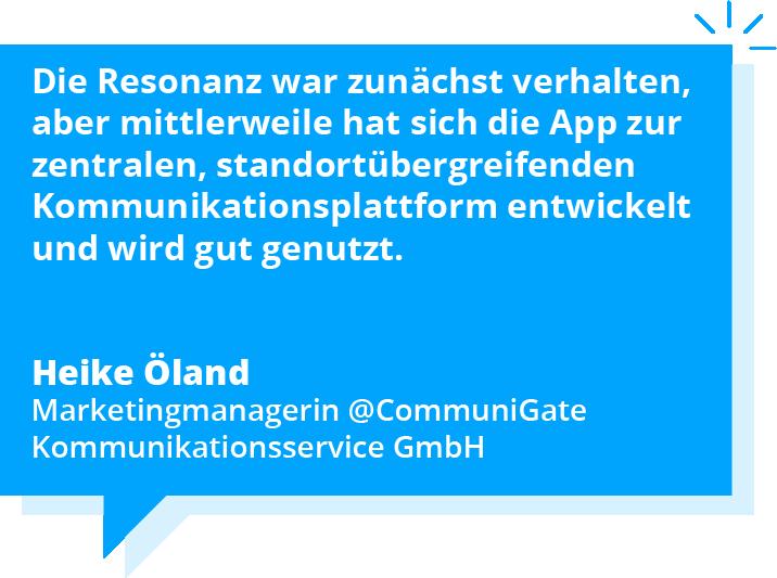 Zitat CommuniGate, Mitarbeiter-App, Staffbase