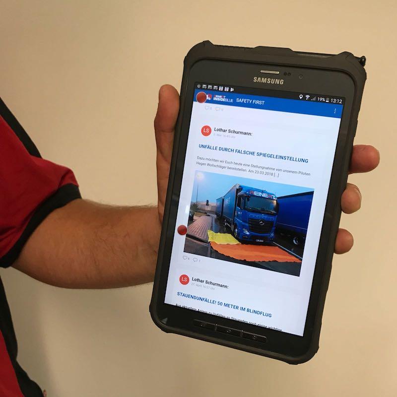 Safety First Kanal in der Reinert Mitarbeiter-App