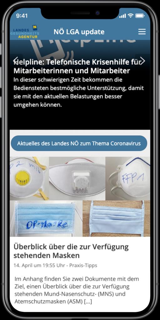 Staffbase NOW App Niederösterreichsiche Landesgesundheitsagentur Startseite