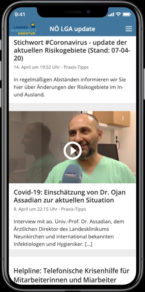 Staffbase NOW App Niederösterreichsiche Landesgesundheitsagentur Videoinhalte