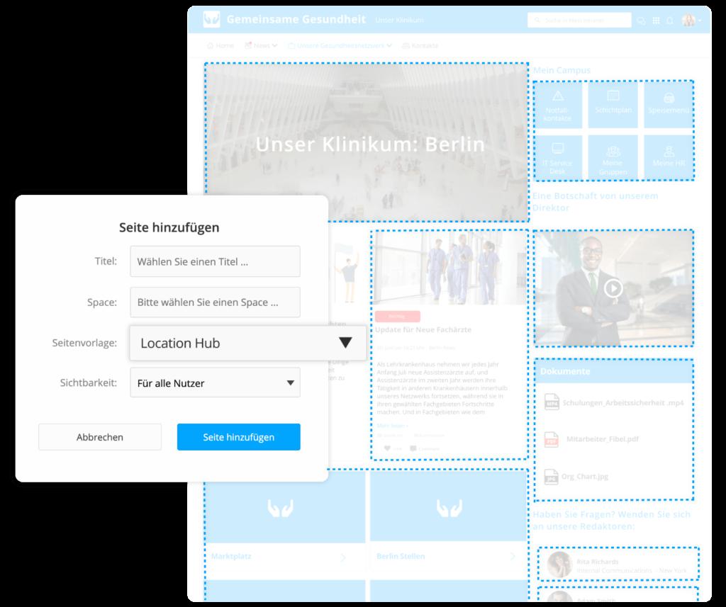 Standort-Seiten Vorlage im Employee Experience Intranet