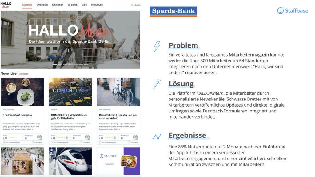 Sparda Bank Zusammenfassung Mitarbeiterapp Staffbase