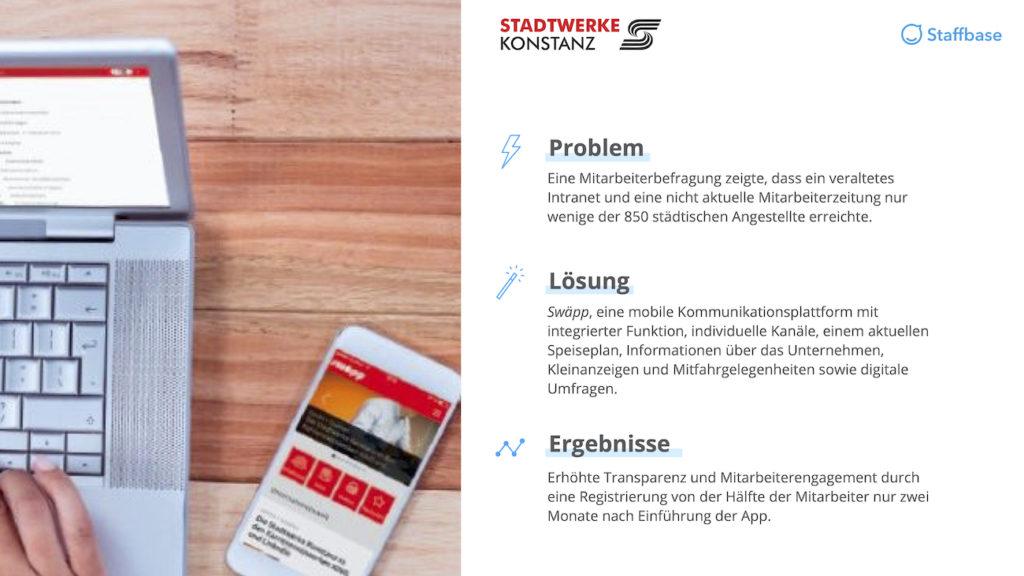 Stadtwerke Konstanz Zusammenfassung Mitarbeiterapp Staffbase