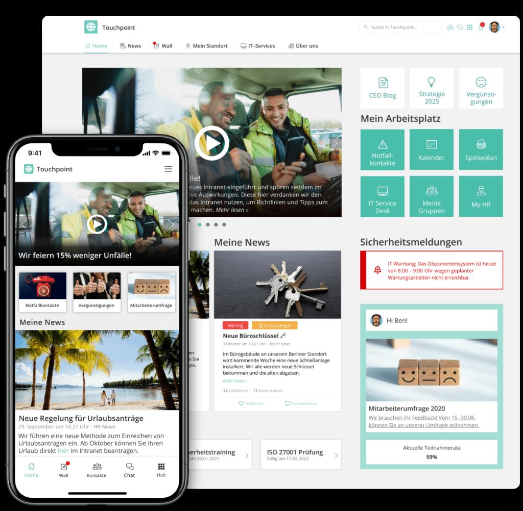 DIe Staffbase Plattform auf Desktop und Mobil