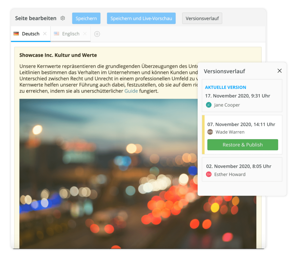 Versionsverlauf im Employee Experience Studio