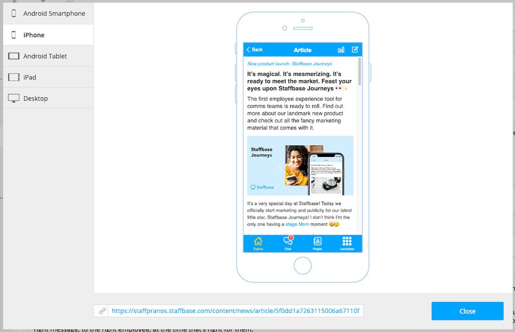 Vorschau der Inhalte einer Mitarbeiter-App