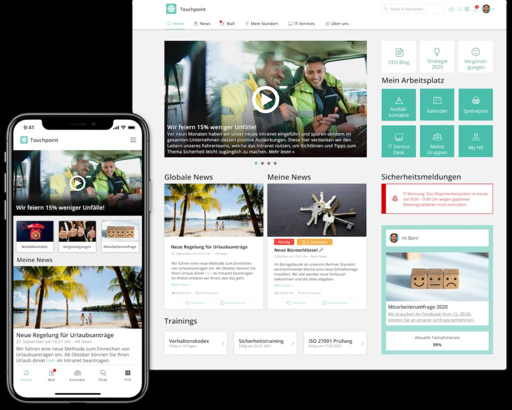 Das Employee Experience Intranet als mobile App und als Desktop-Intranet: Optimierbar für beide Geräte