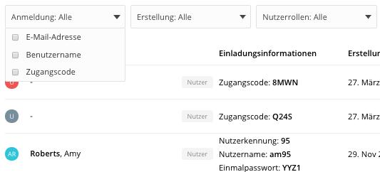 Filter für Listen im Nutzermanagement