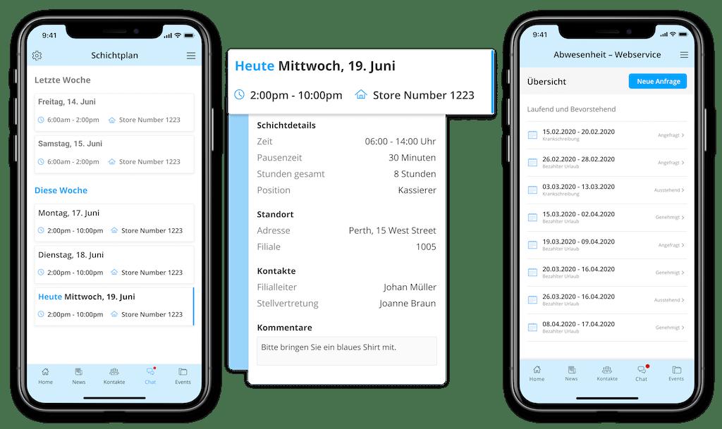 Beispiel Schichtplan und Urlaubsplanung in einer Mitarbeiter-App