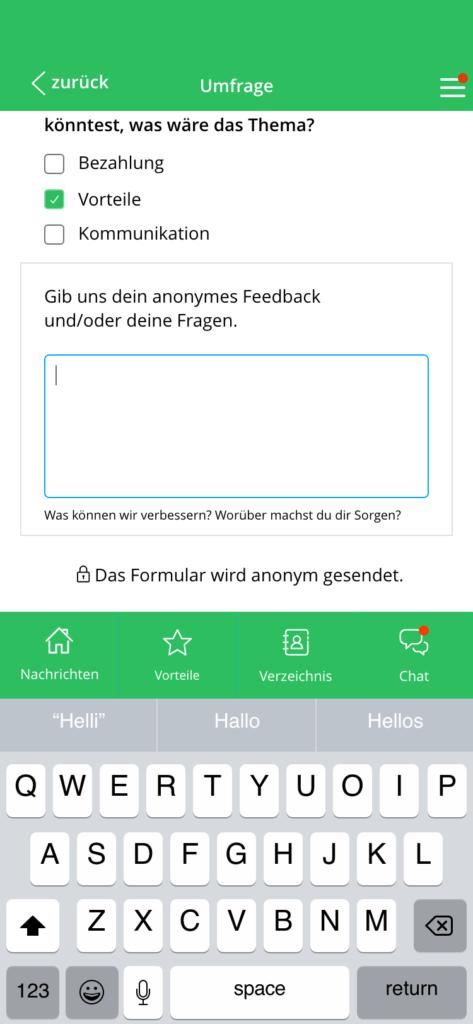 Mitarbeiter-Umfrage in der Mitarbeiter-App