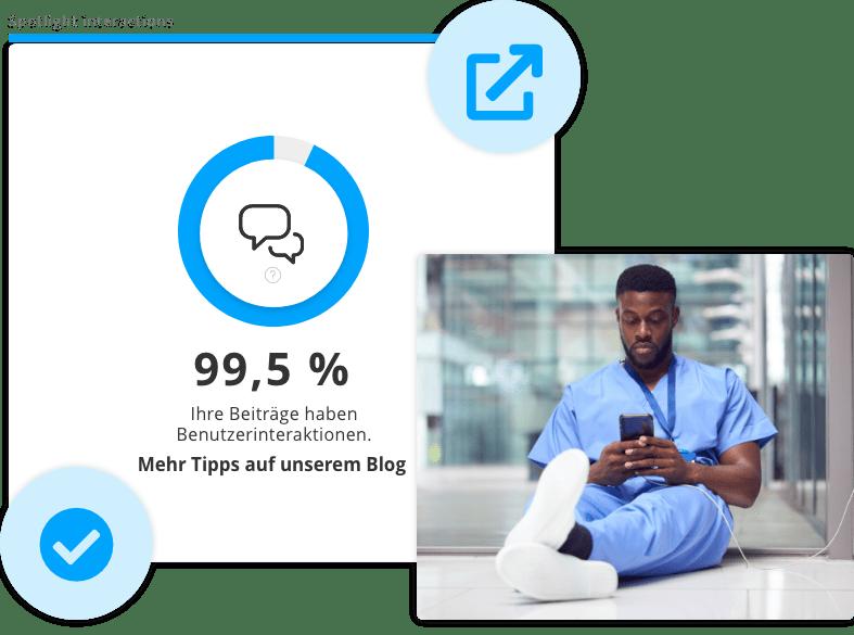 Darstellung der Interaktionsrate mit Statistiken von Staffbase
