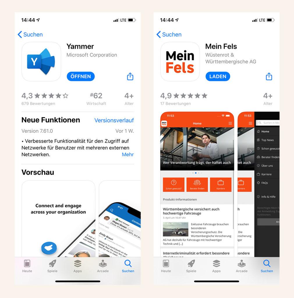Gebrandete Mitarbeiter-App im Vergleich mit der Yammer App