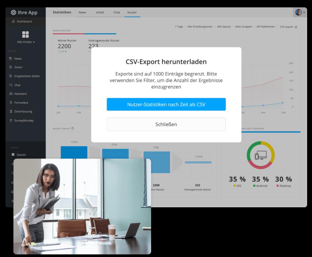 CSV-Export mit Statistiken von Staffbase auf Desktop