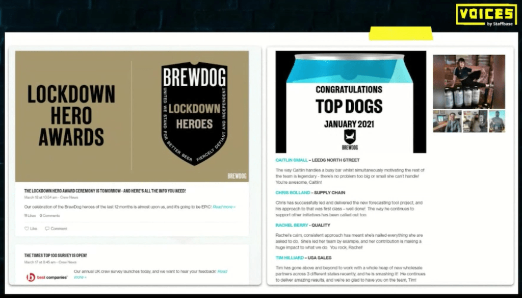 Images from BrewDog's employee app.