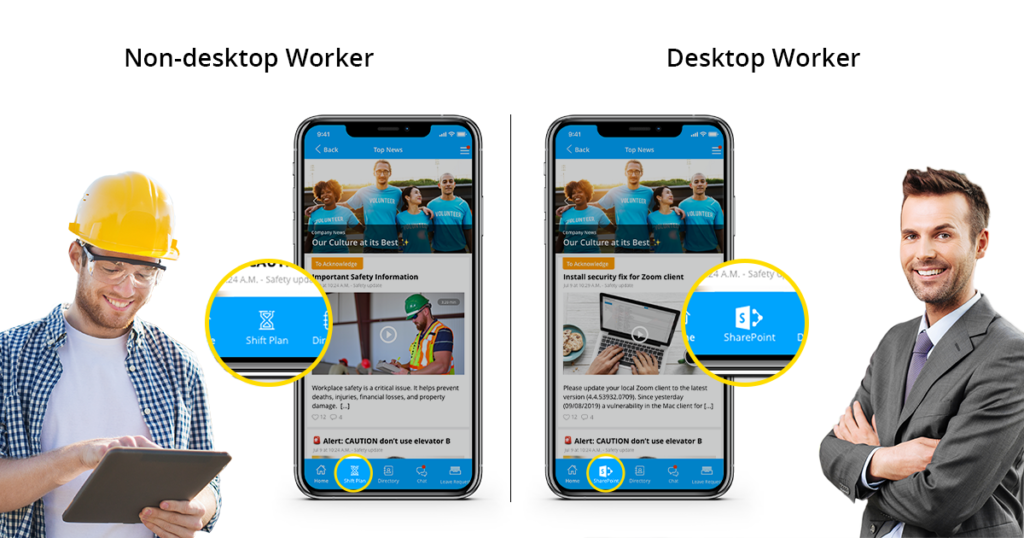 Different App Dock For Workers
