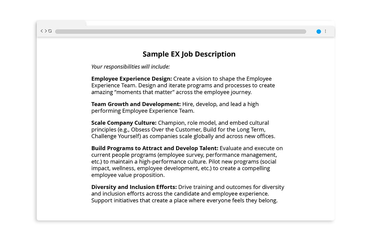 A sample employee experience management job description.