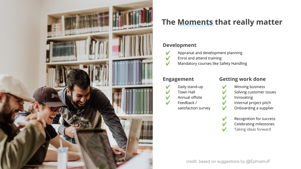 Intranet Trends illustration of moments that matter at work.