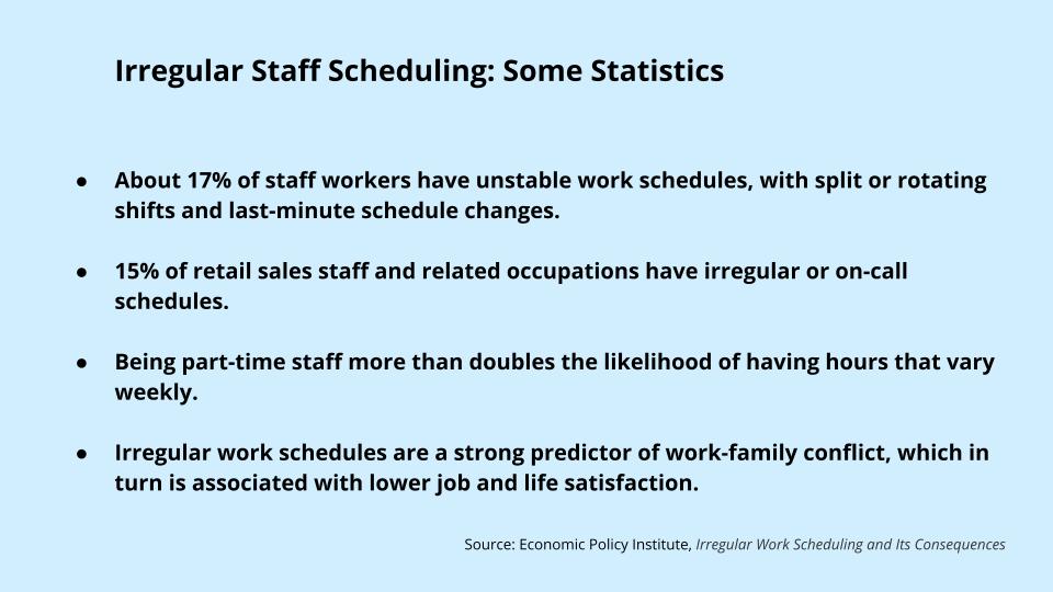 Irregular Staff Scheduling