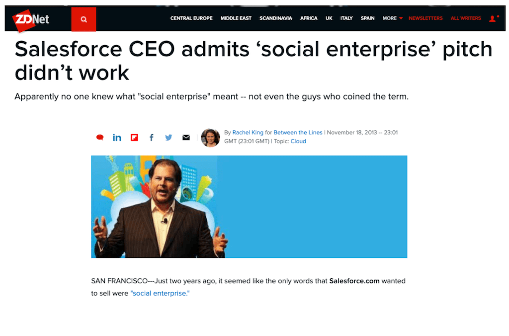A screenshot of an article in which Salesforce admitted that their social intranet software pitch didn't work.