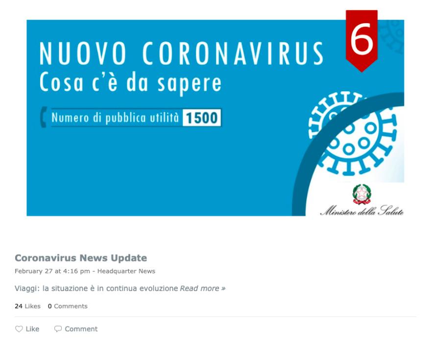 Max Mara's dedicated coronavirus crisis communication news feed.