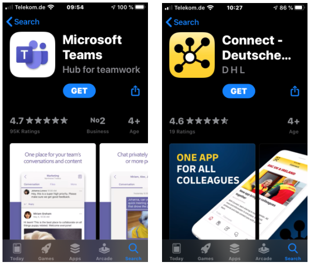 MS Teams vs. Employee App
