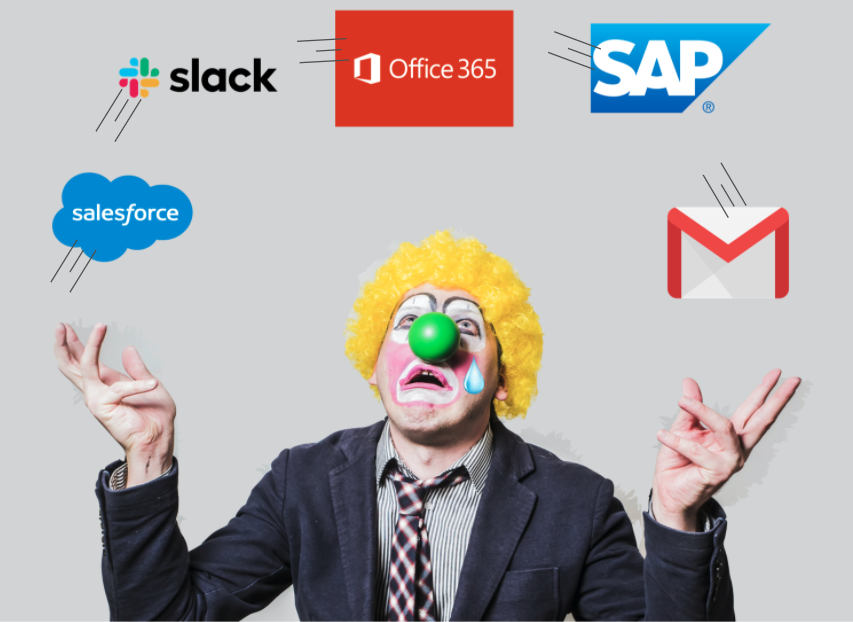 An illustration showing a clown juggling digital workplace platforms.