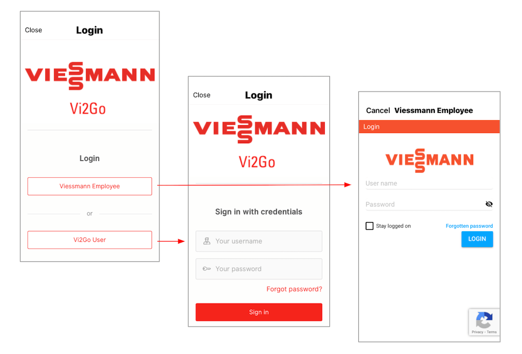 An illustration showing a typical example of two different types of login from Vi2Go, the Viessmann employee app.