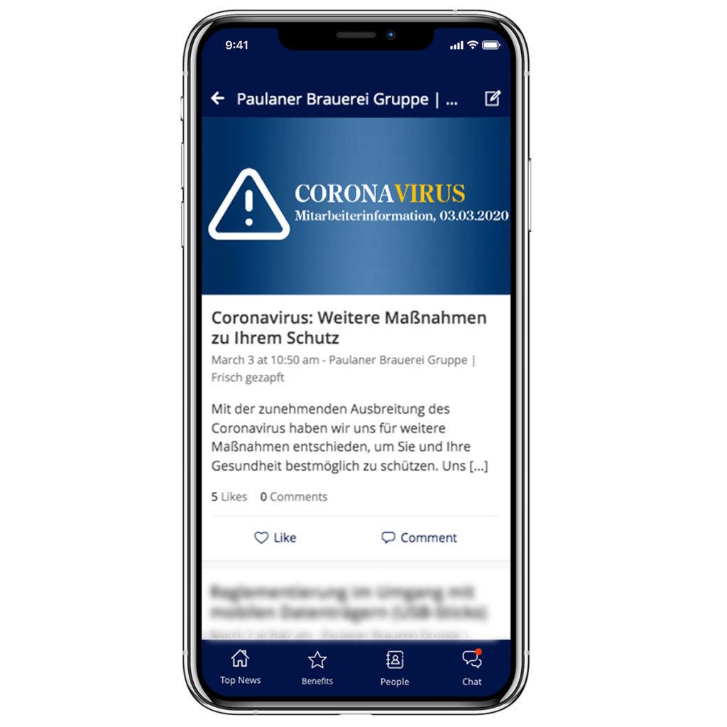 An image of Paulaner's coronavirus crisis communication page in their employee app.