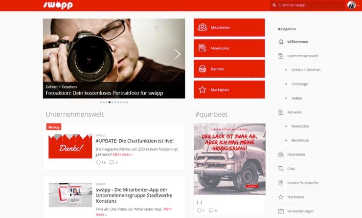 Employee App Swäpp Desktop