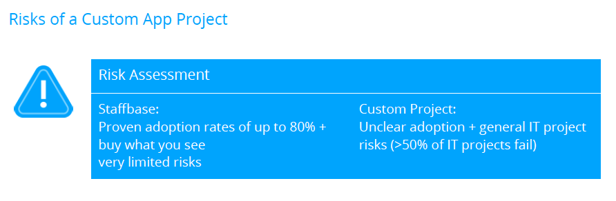 Risk of a custom app project