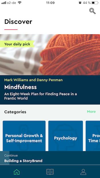 The Blinkist App: Startpage