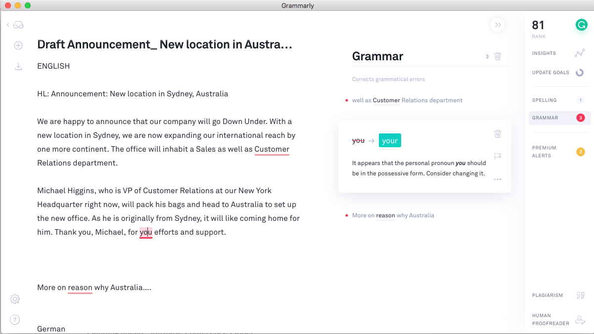The Grammarly App