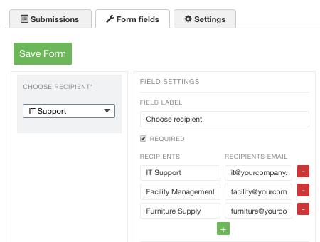 forms recipient chooser
