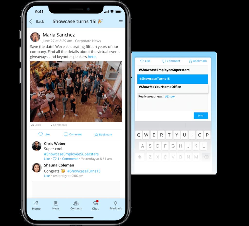Staffbase Hashtags mobile