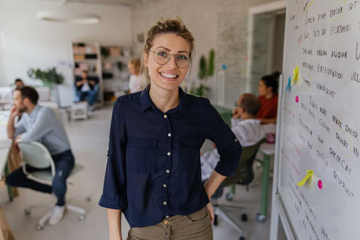 A woman working in employee experience management