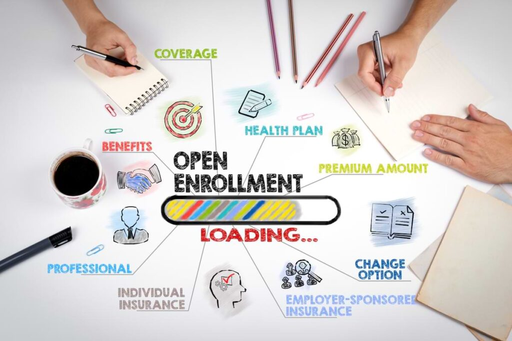 An illustration showing the many benefits in play during open enrollment