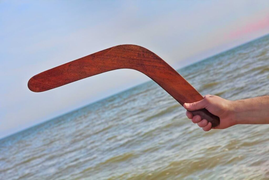 A photo of a boomerang to illustrate the idea of boomerang employees.