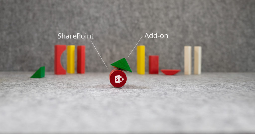An illustration demonstrating how an intranet in-a-box sits precariously on top of Microsoft Sharepoint.