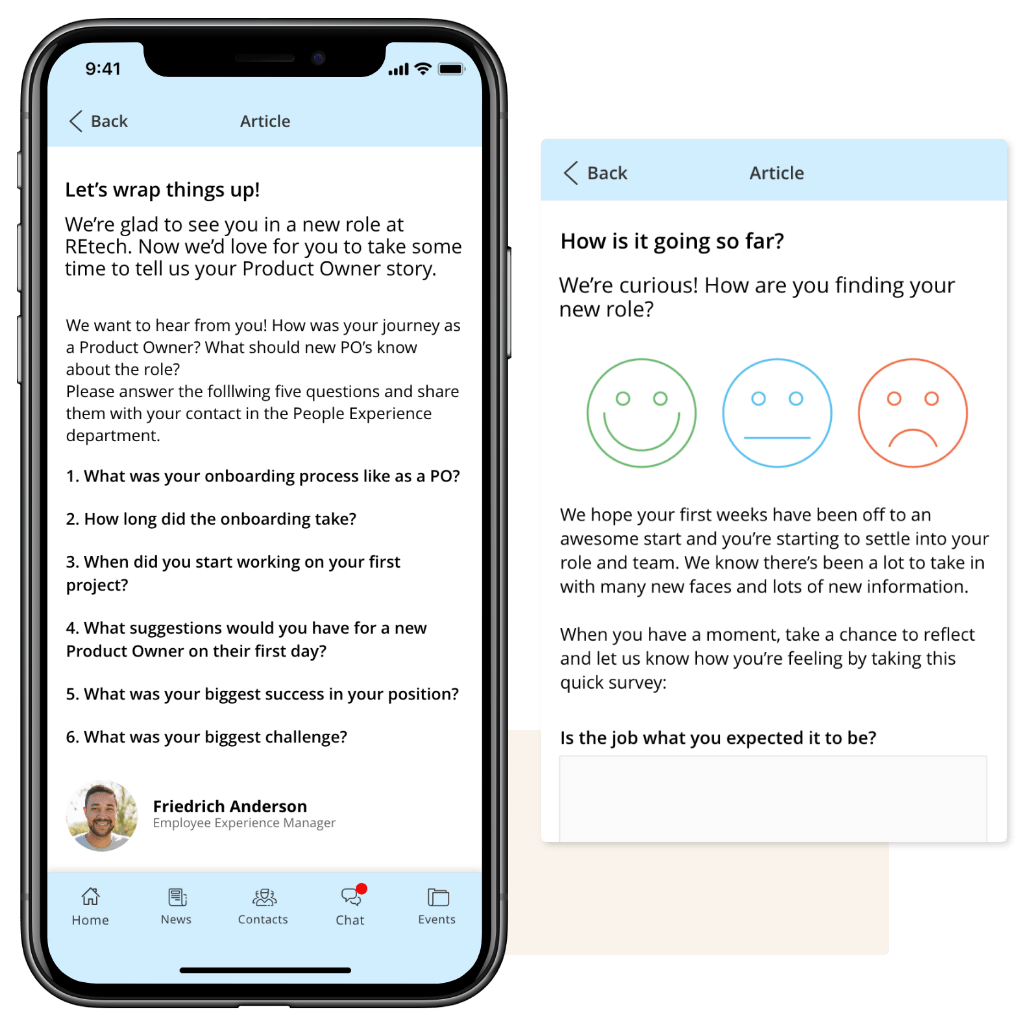 Role Change Journey Mobile Screen with Pulse Survey