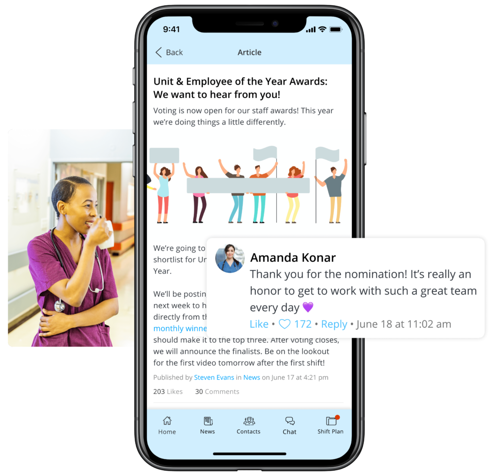 Employee Workplace Recognition in a mobile employee app