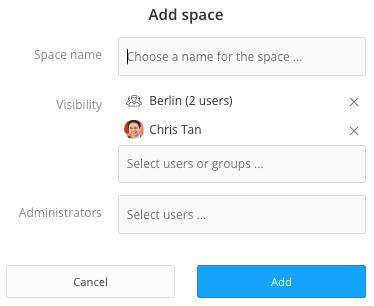 space name user group