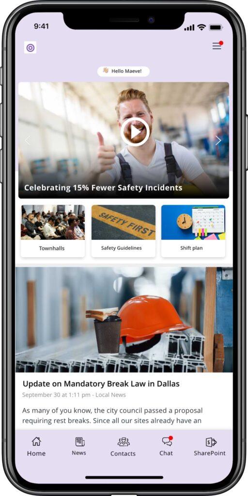 Staffbase employee app mobile view